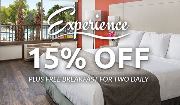 Experience 15% Off plus free breakfast for two